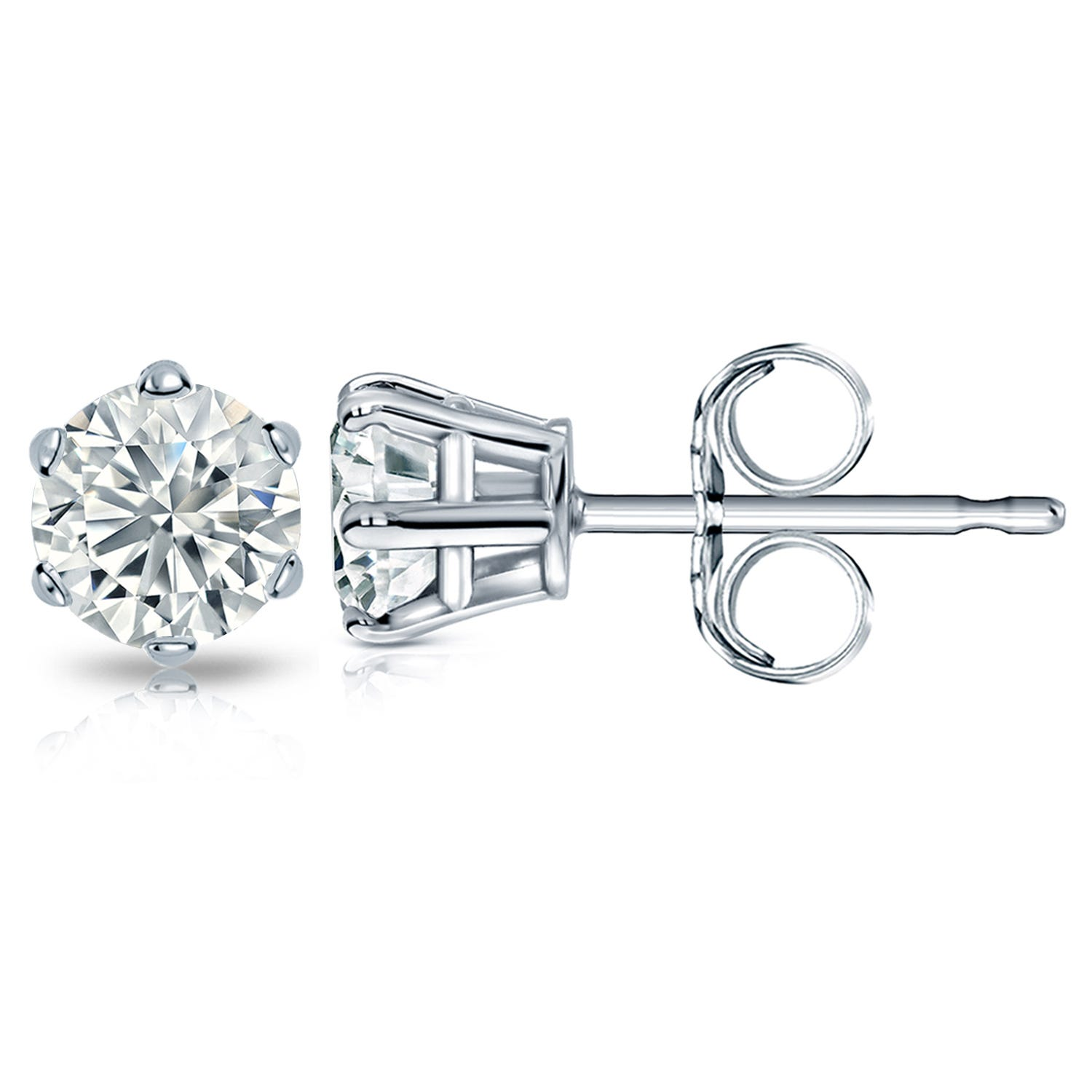 Round Diamond 2ctw. (IJ-I2) Solitaire Stud 6-Prong Earrings in 10K White Gold
