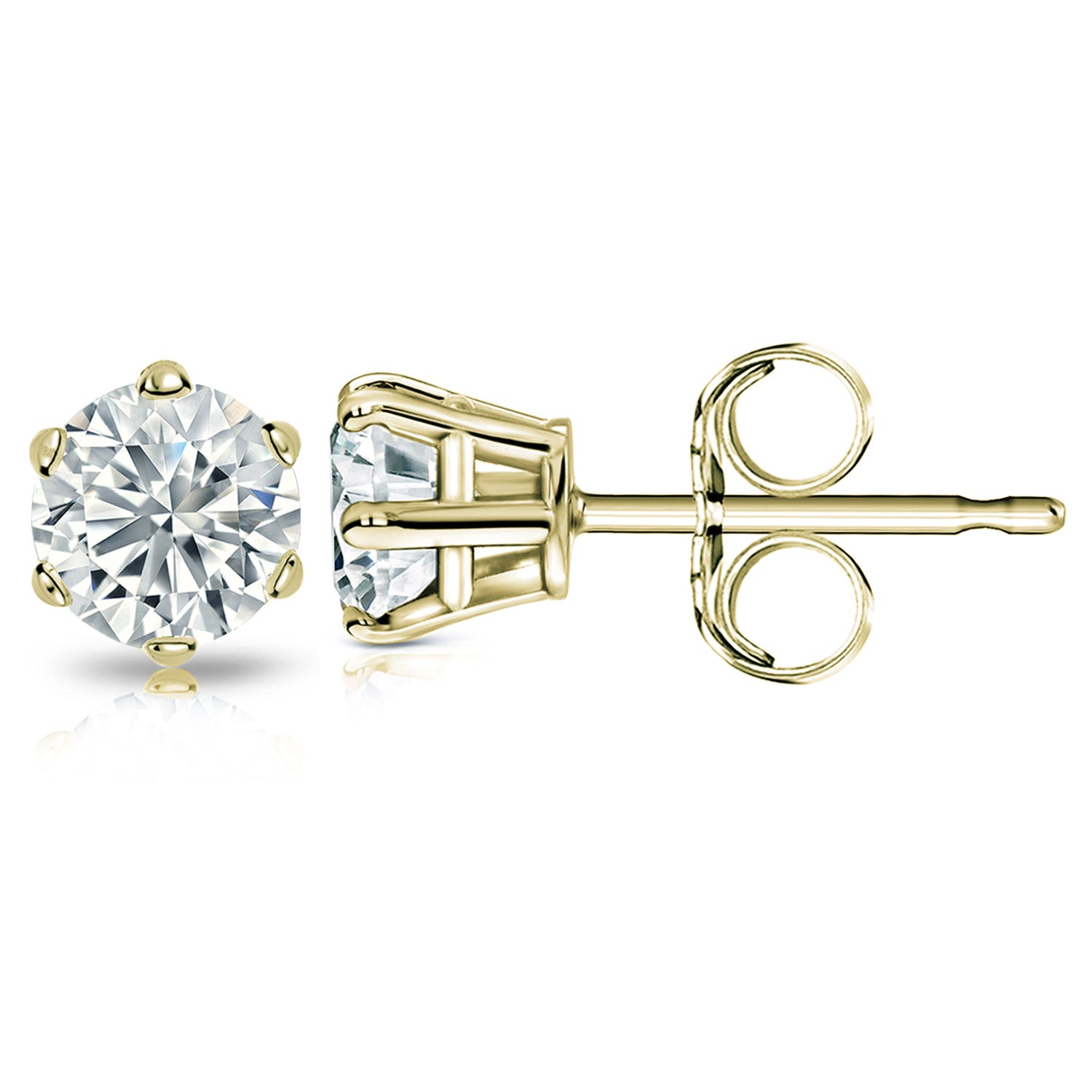 Round Diamond 2ctw. (IJ-I2) Solitaire Stud 6-Prong Earrings in 10K Yellow Gold