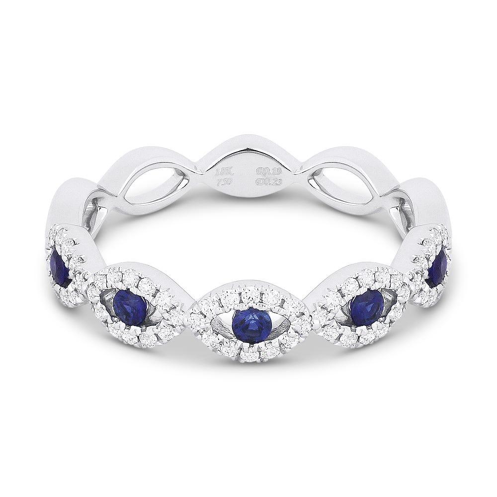 Sapphire & Diamond Pinch Twist Ring in 14k White Gold