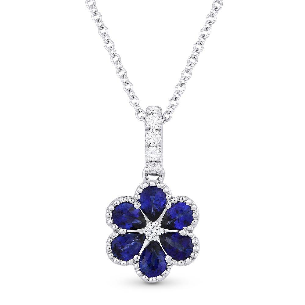 Sapphire & Diamond Flower Pendant in 14k White Gold