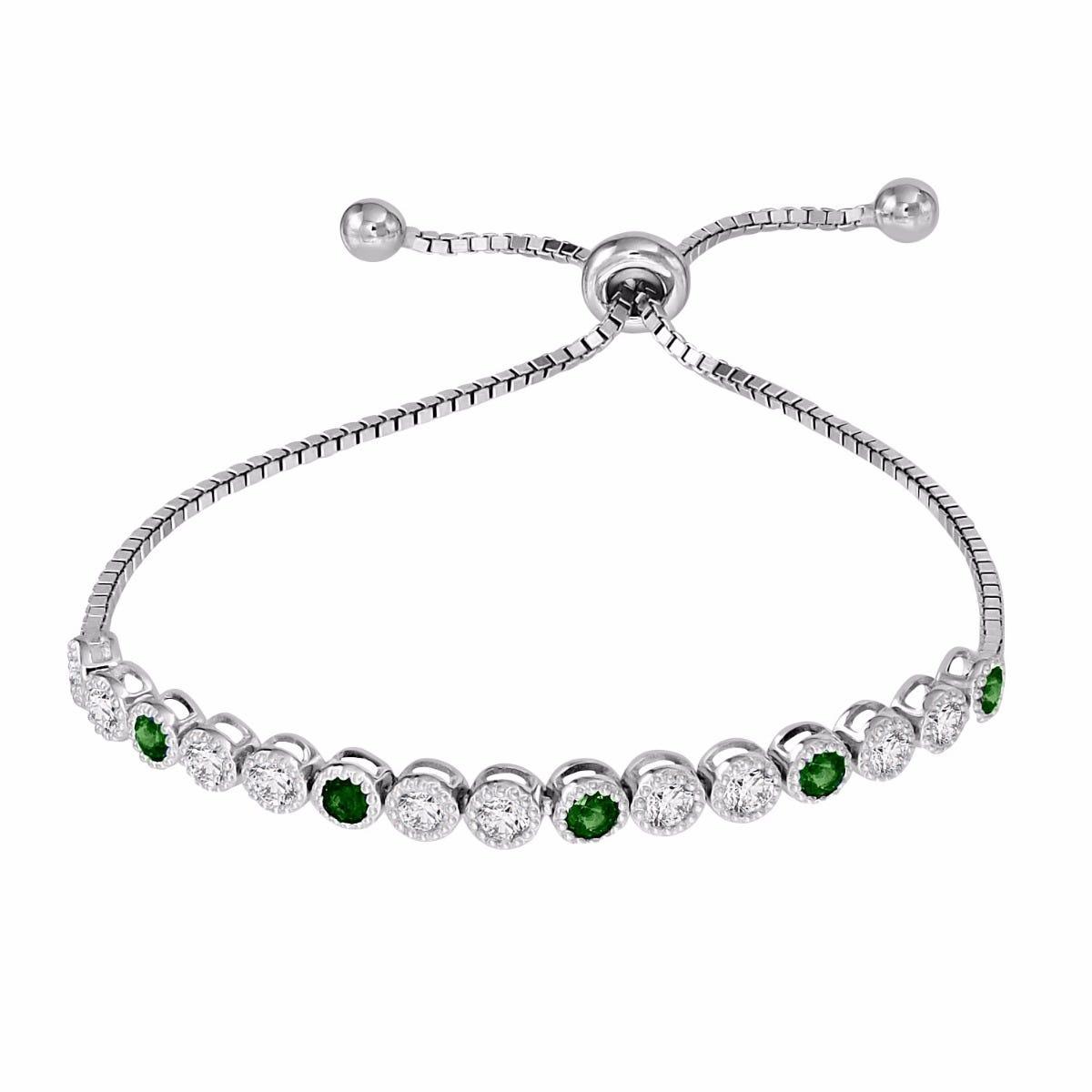 Emerald & White Zircon Bolo Bracelet in Sterling Silver
