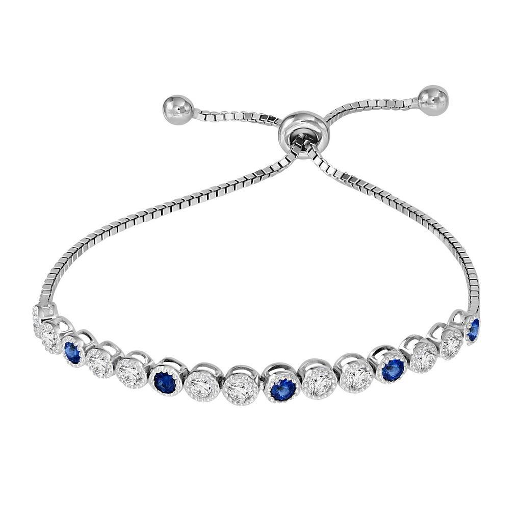 Sapphire & White Zircon Bolo Bracelet in Sterling Silver