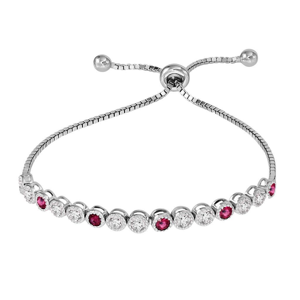 Ruby & White Zircon Bolo Bracelet in Sterling Silver