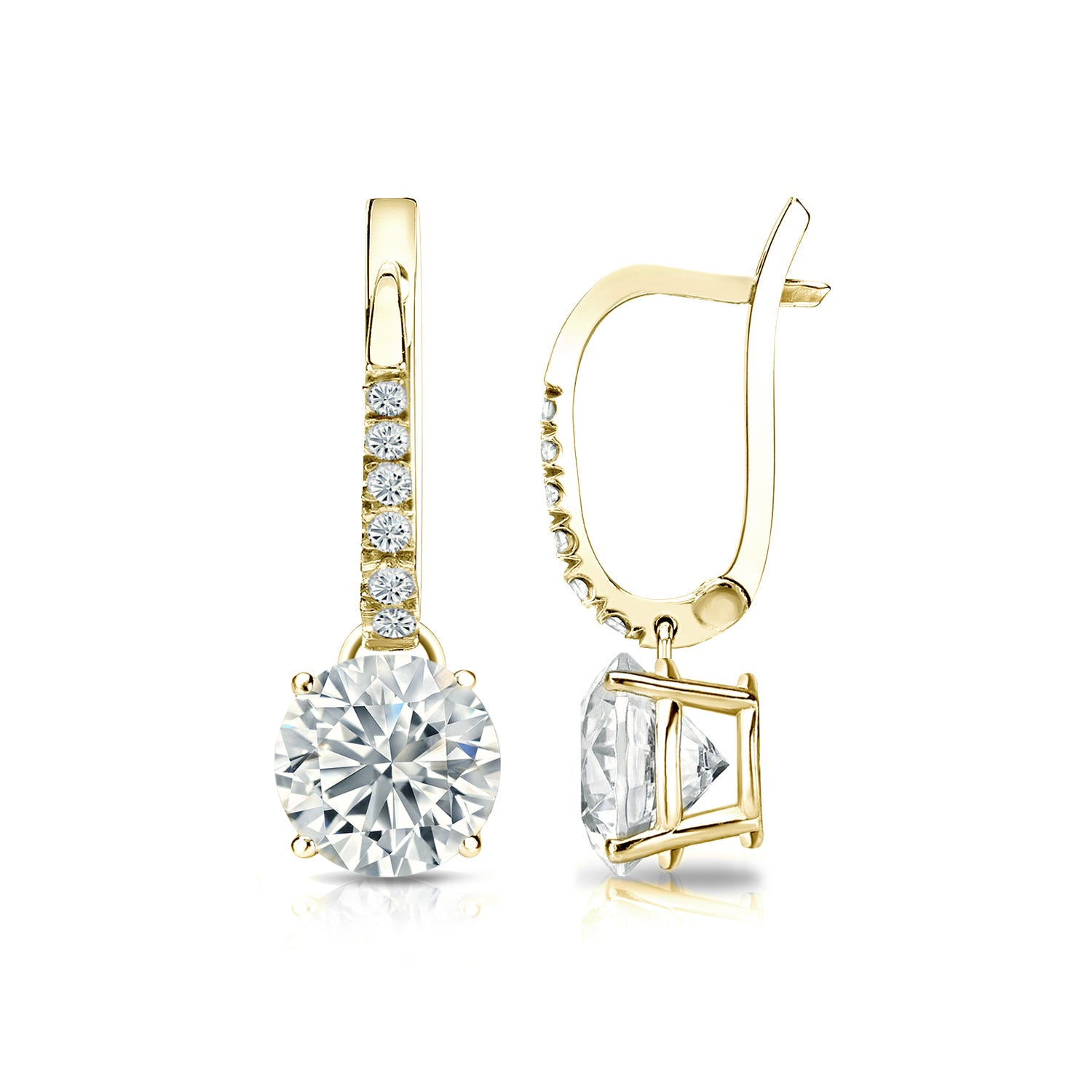 Diamond 1½ctw. 4-Prong Round Drop Earrings in 14k Yellow Gold I2 Clarity