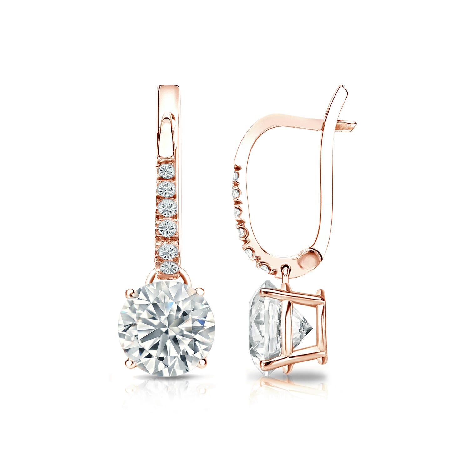 Diamond 1 1/2ctw. 4-Prong Round Drop Earrings in 14k Rose Gold SI2 Clarity