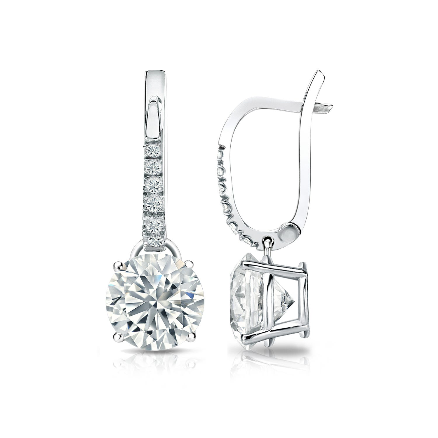 Diamond 2ctw. 4-Prong Round Drop Earrings in 18k White Gold SI1 Clarity