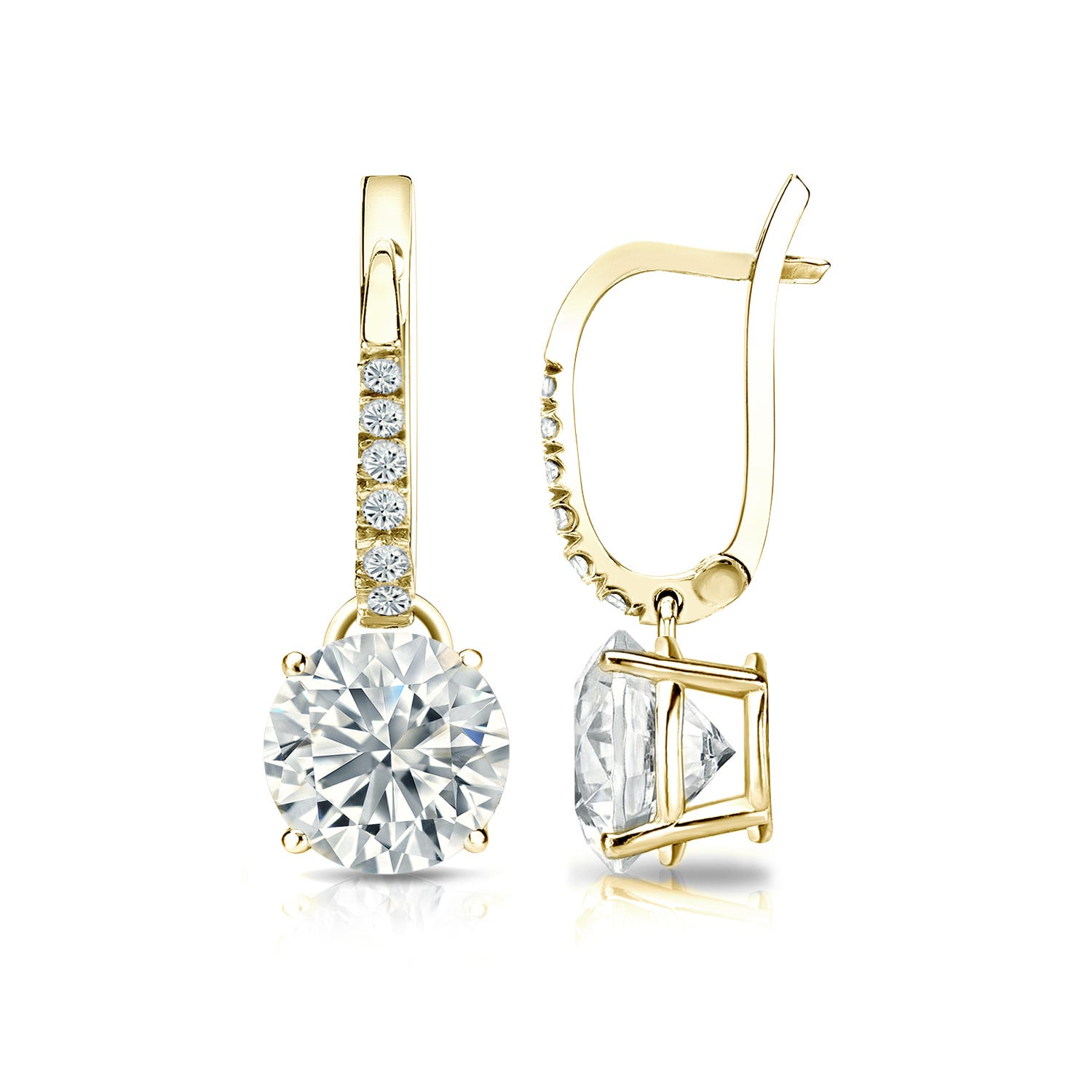 Diamond 2ctw. 4-Prong Round Drop Earrings in 14k Yellow Gold SI1 Clarity