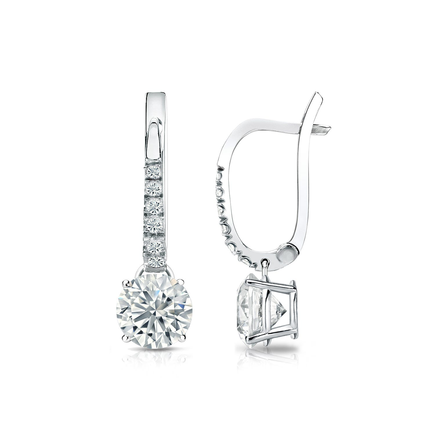 Diamond 1ctw. 4-Prong Round Drop Earrings in 14k White Gold I2 Clarity
