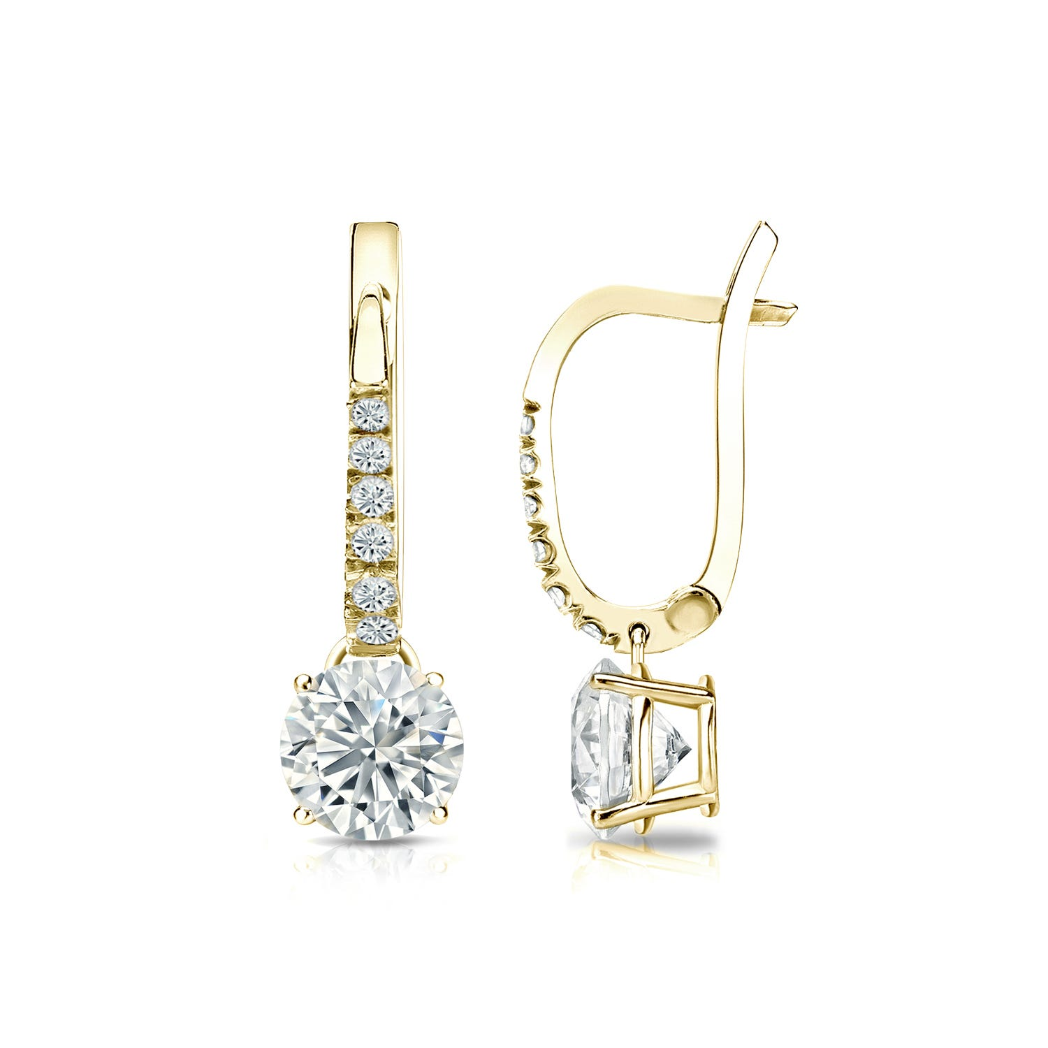 Diamond 1ctw. 4-Prong Round Drop Earrings in 18k Yellow Gold I2 Clarity