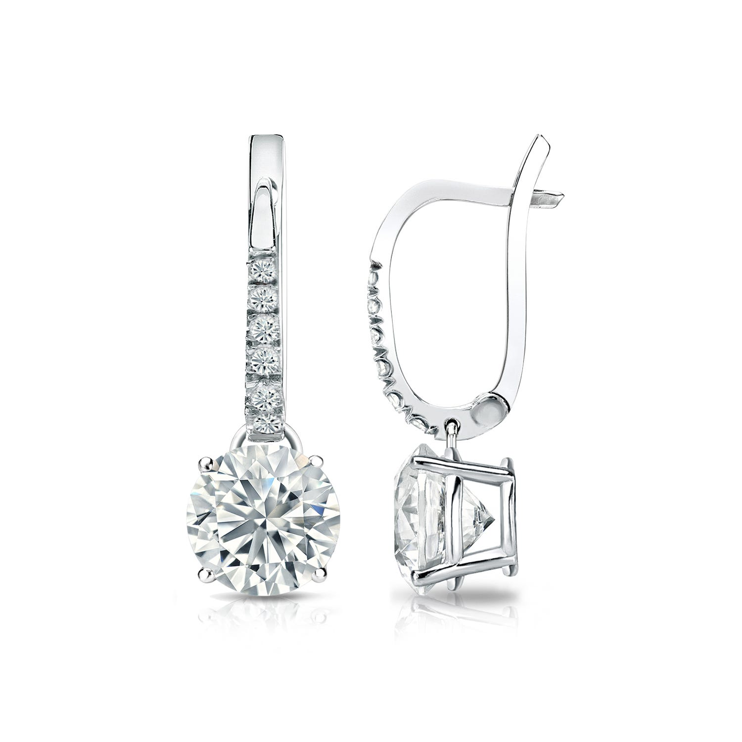 Diamond 1 1/2ctw. 4-Prong Round Drop Earrings in 18k White Gold VS2 Clarity