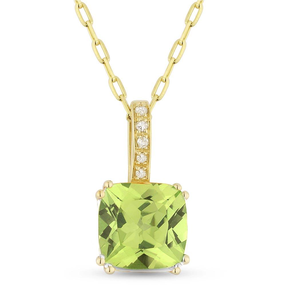 Cushion-Cut Peridot & Diamond Drop Pendant in 14k Yellow Gold