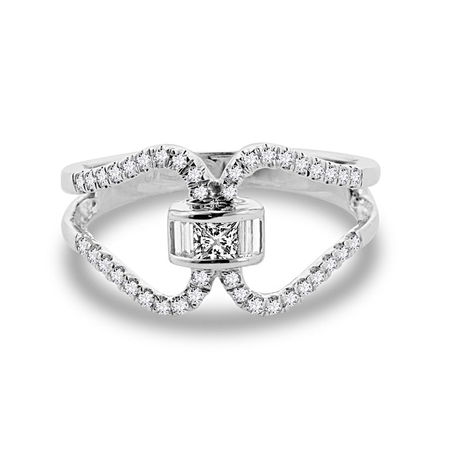 Diamond 1/2ctw. Loop Lock Fashion Ring in 14k White Gold
