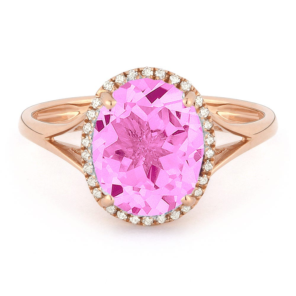 f53951e061e67f Oval Pink Sapphire & Diamond Halo Ring in 14k Rose Gold