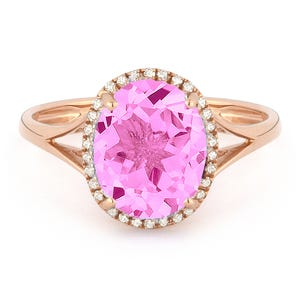 b2484b13c Oval Pink Sapphire & Diamond Halo Ring in 14k Rose Gold