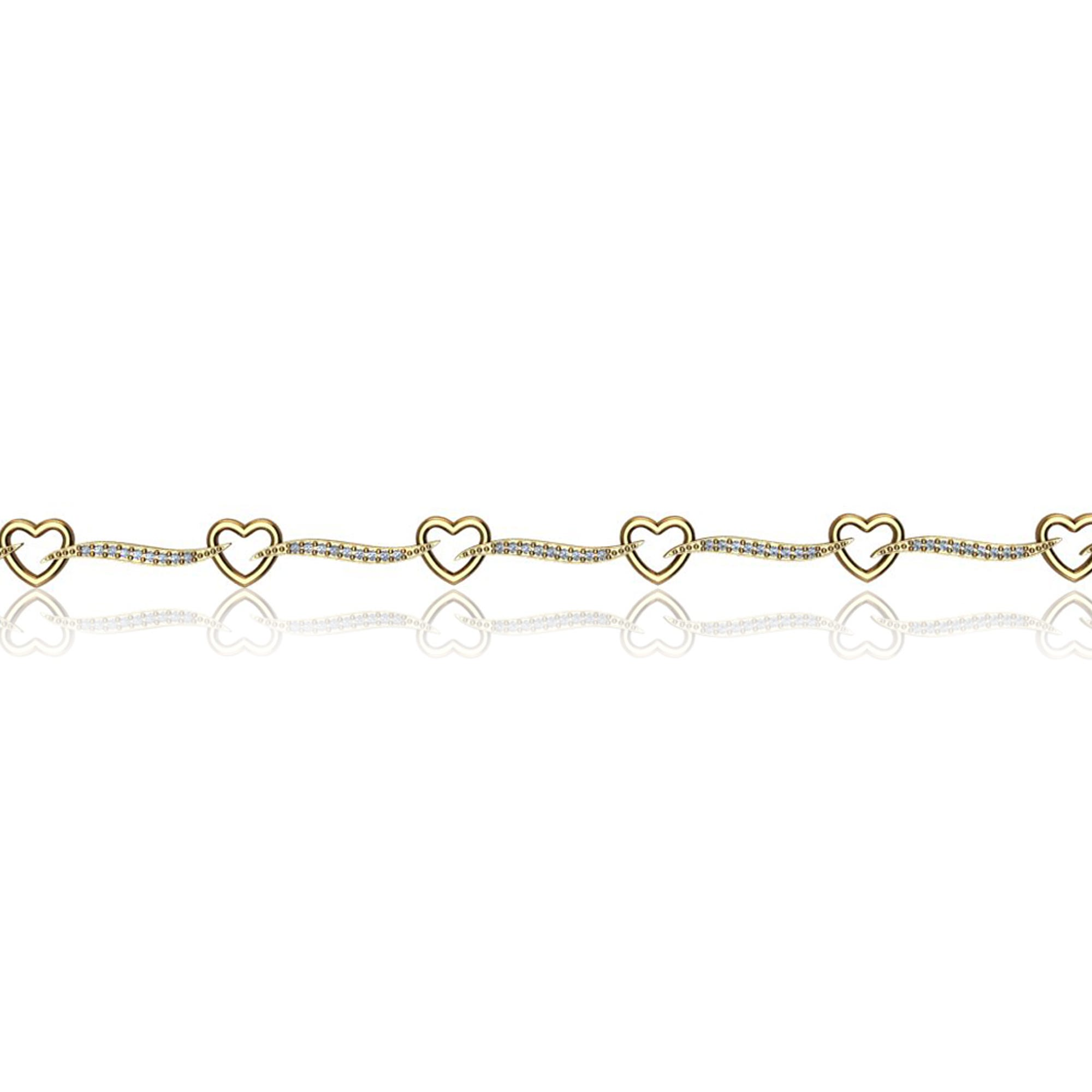 Open Heart Diamond Link Bracelet in 10k Yellow Gold