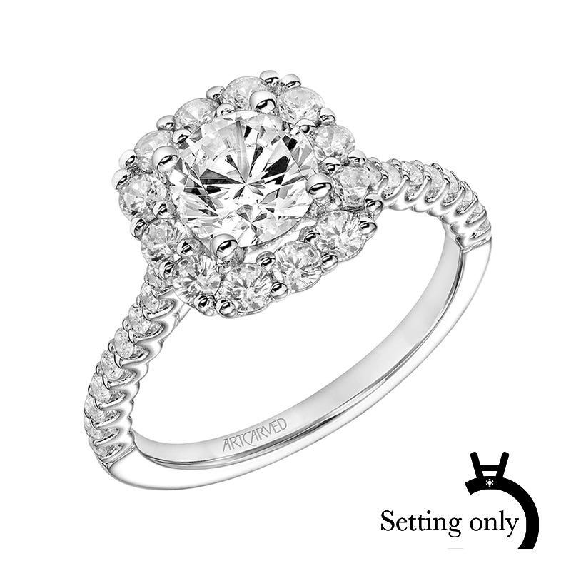 Dolly. ArtCarved® 3/4ctw. Diamond Semi-Mount in 14k White Gold