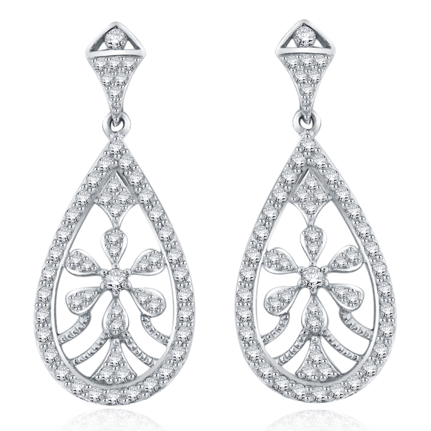 Diamond 1ctw. Flower Chandelier Fashion Earrings in 14k White Gold