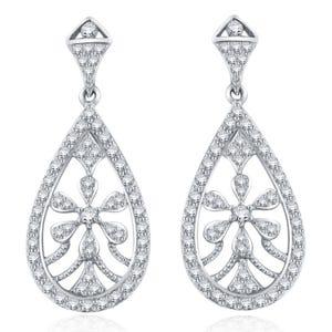 b8e9c1f10 Diamond 1ctw. Flower Chandelier Fashion Earrings in 14k White Gold