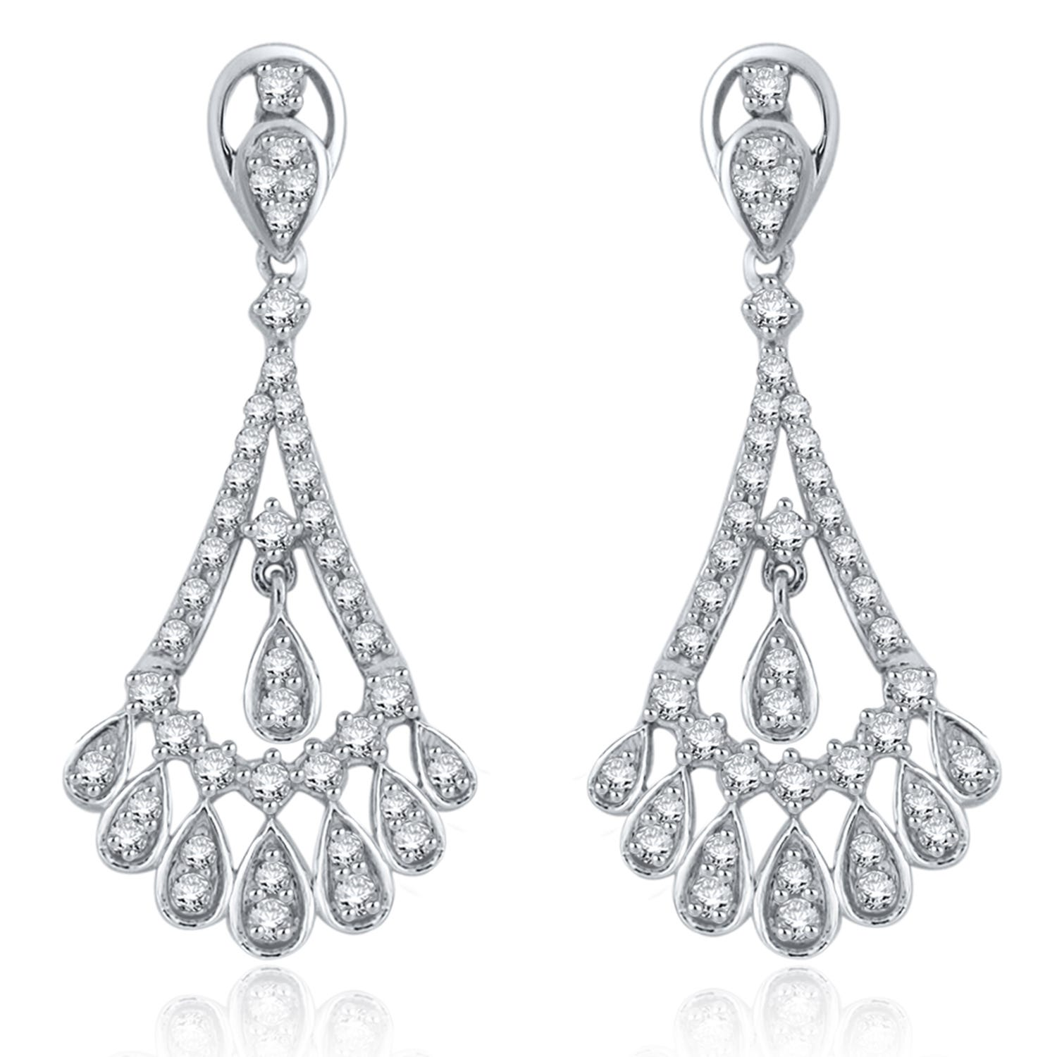 Diamond 1ctw. Fancy Teardrops Chandelier Earrings in 14k White Gold