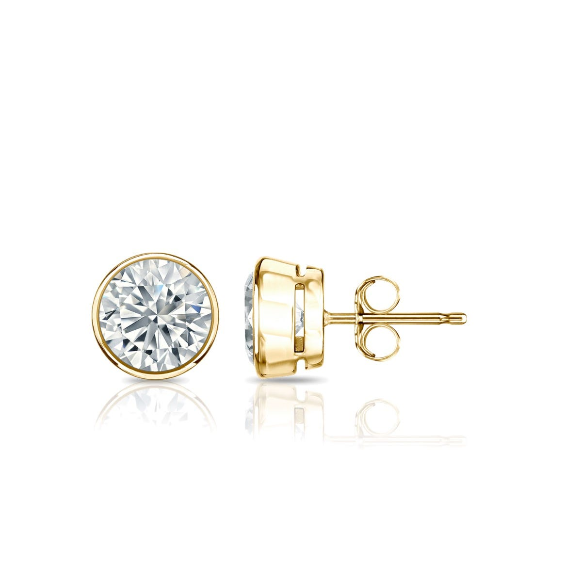 Diamond Round Bezel-Set 3/4ctw. Solitaire Stud (IJ-I2) Earrings in 10K Yellow Gold