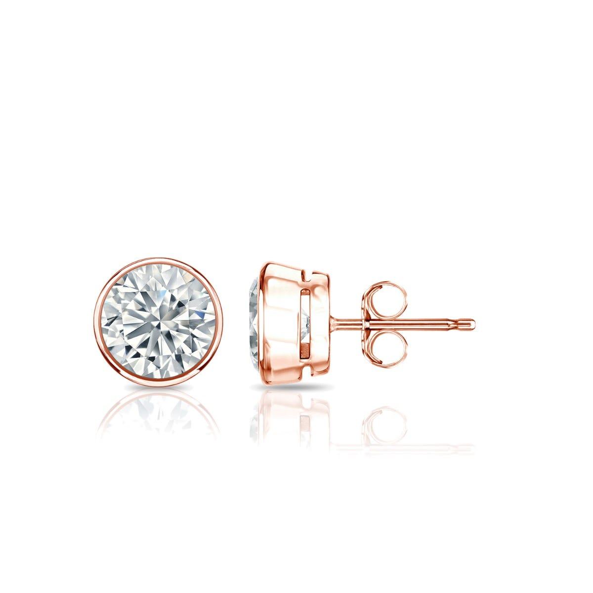 Diamond Round Bezel-Set 3/4ctw. Solitaire Stud (IJ-I2) Earrings in 10K Rose Gold