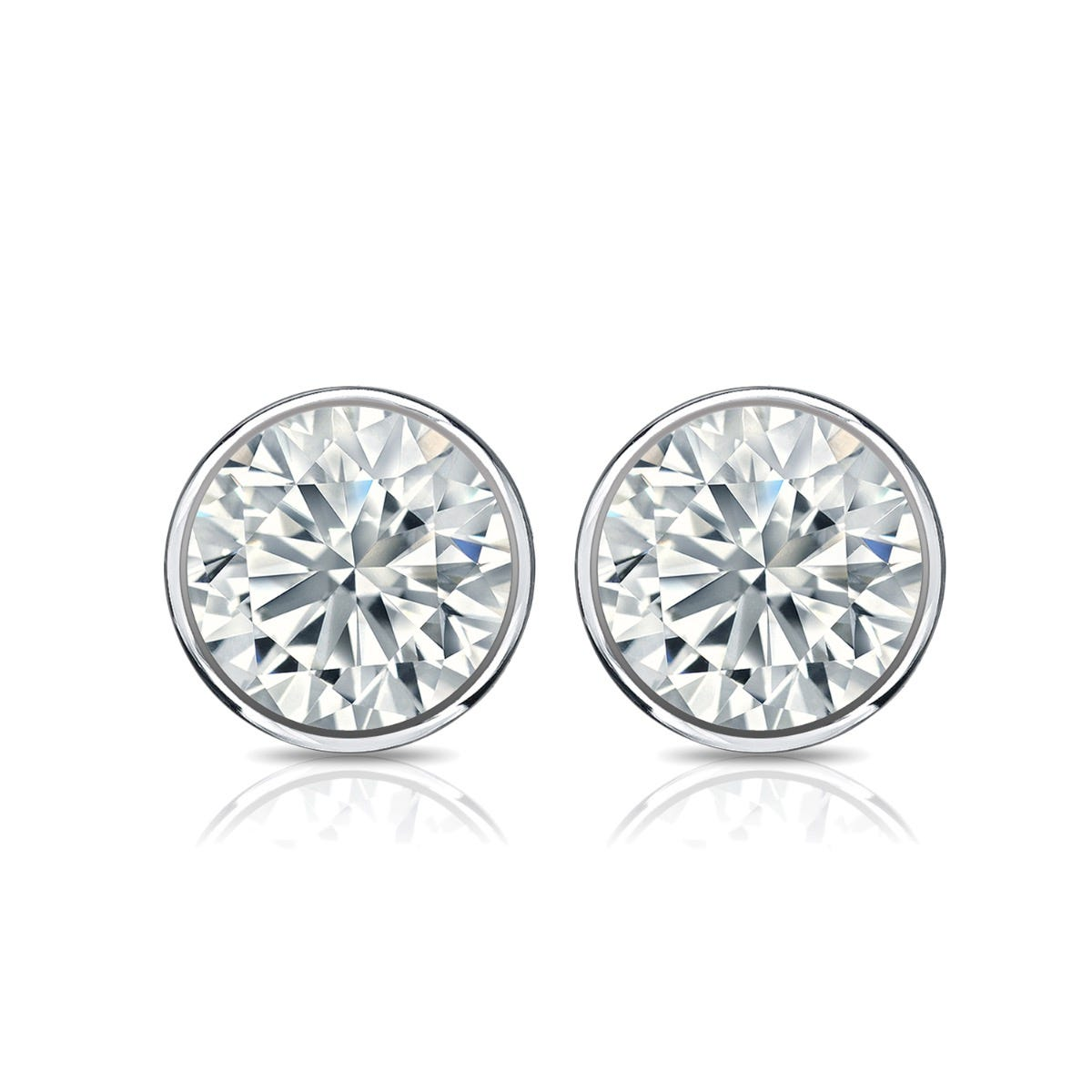 Diamond Round Bezel-Set 1ctw. Solitaire Stud (IJ-I2) Earrings in 10K White Gold