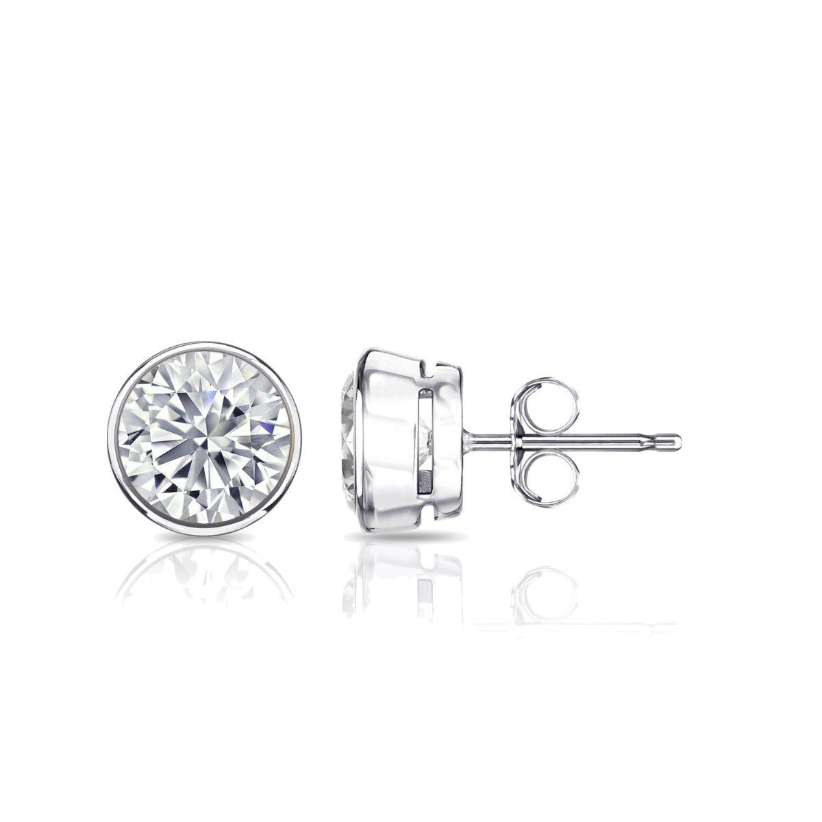 Diamond Round Bezel-Set 1ctw. Solitaire Stud (IJ-SI2) Earrings in 18K White Gold
