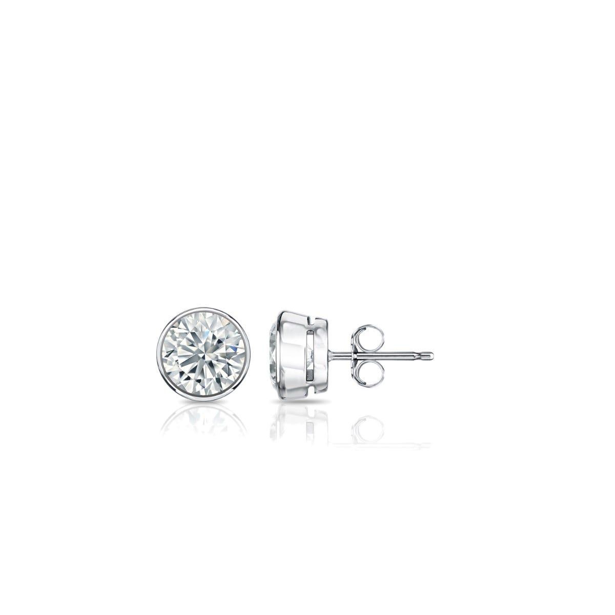 Diamond Round Bezel-Set 1/5ctw. Solitaire Stud (IJ-SI2) Earrings in 18K White Gold