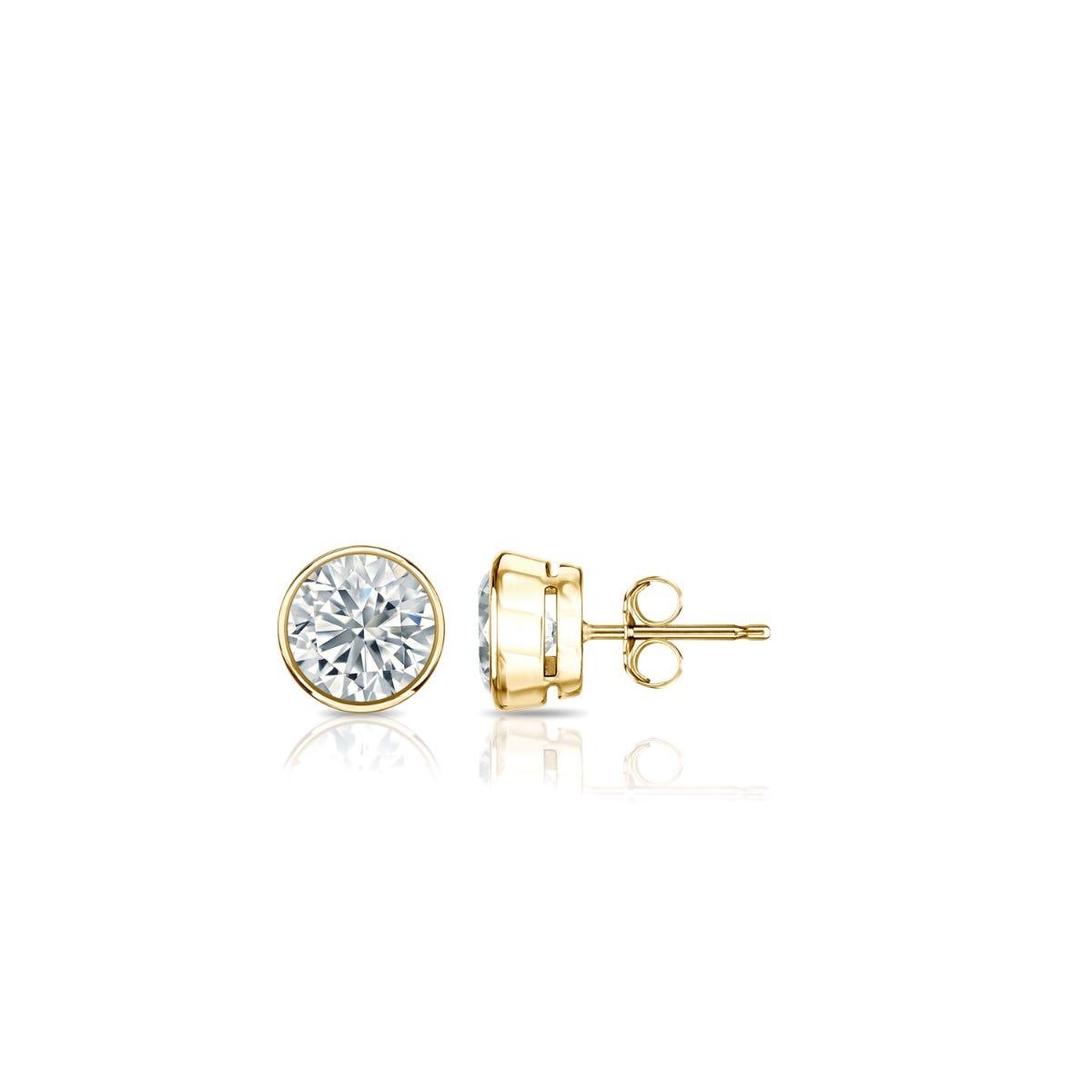 Diamond Round Bezel-Set 1/7ctw. Solitaire Stud (IJ-I2) Earrings in 10K Yellow Gold