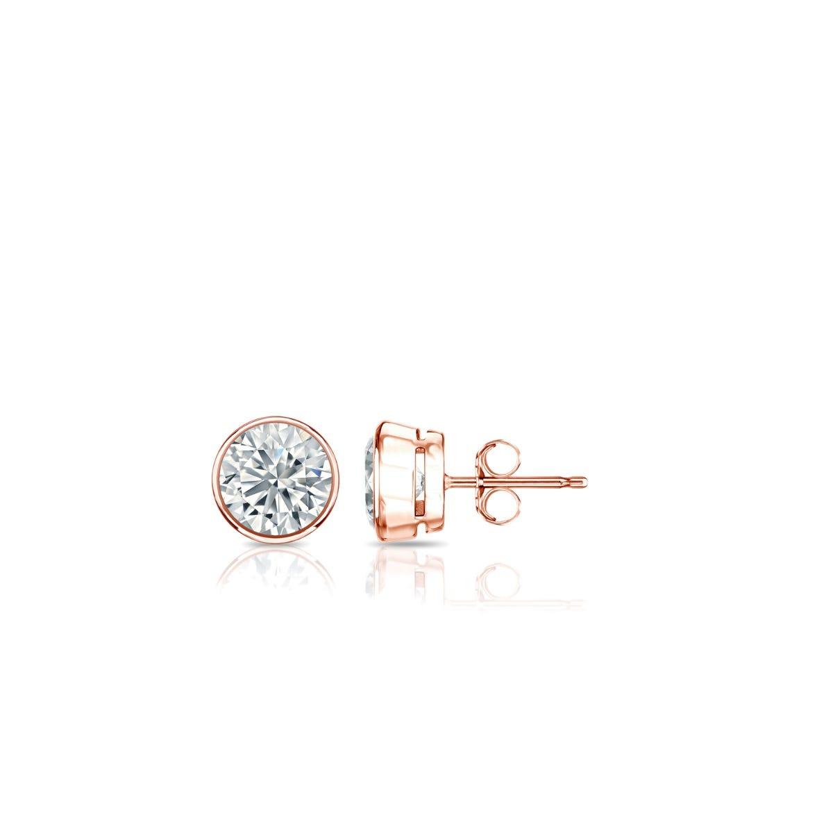 Diamond Round Bezel-Set 1/10ctw. Solitaire Stud (IJ-I1) Earrings in 14K Rose Gold