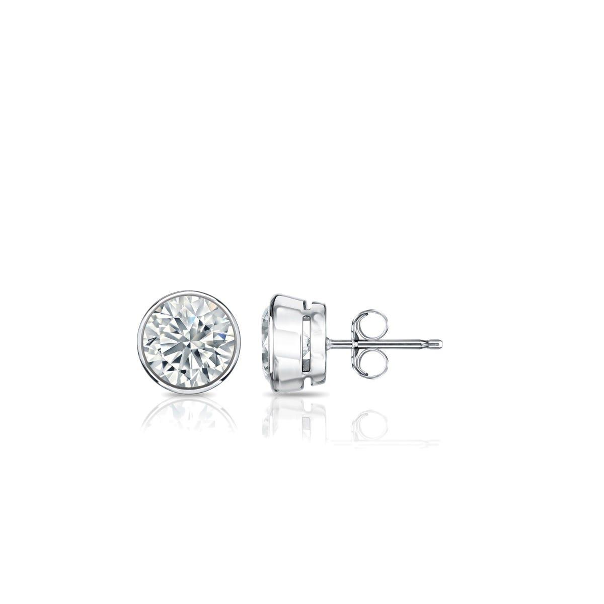 Diamond Round Bezel-Set 1/3ctw. Solitaire Stud (IJ-VS2) Earrings in Platinum