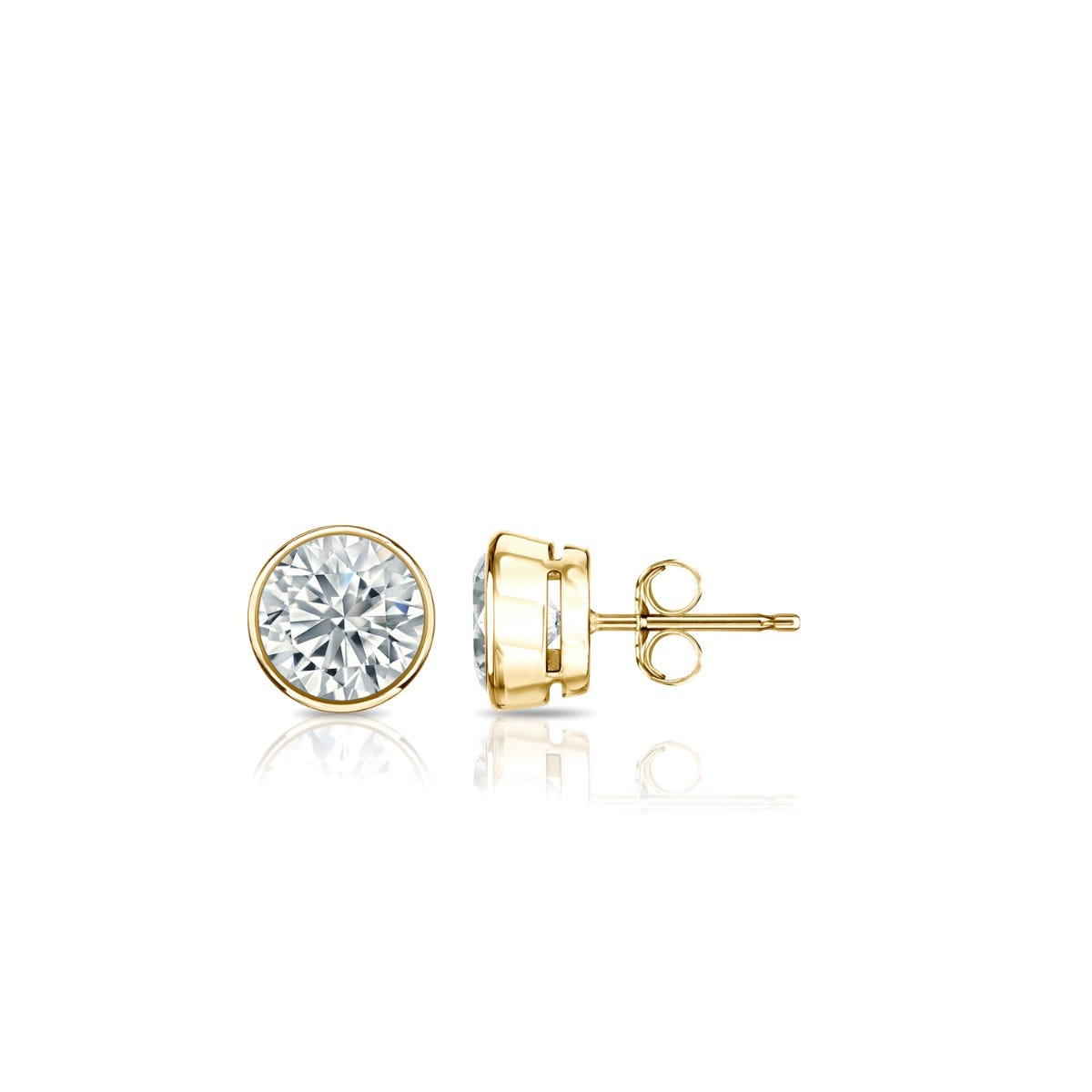 Diamond Round Bezel-Set 1/3ctw. Solitaire Stud (IJ-SI1) Earrings in 18K Yellow Gold