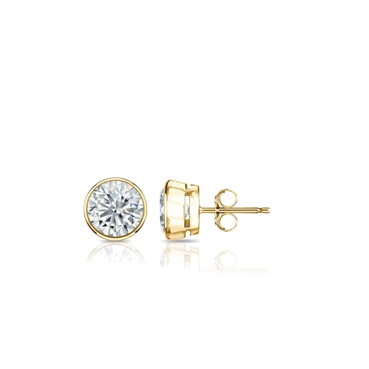 Diamond Round Bezel-Set 1/3ctw. Solitaire Stud (IJ-I2) Earrings in 18K Yellow Gold