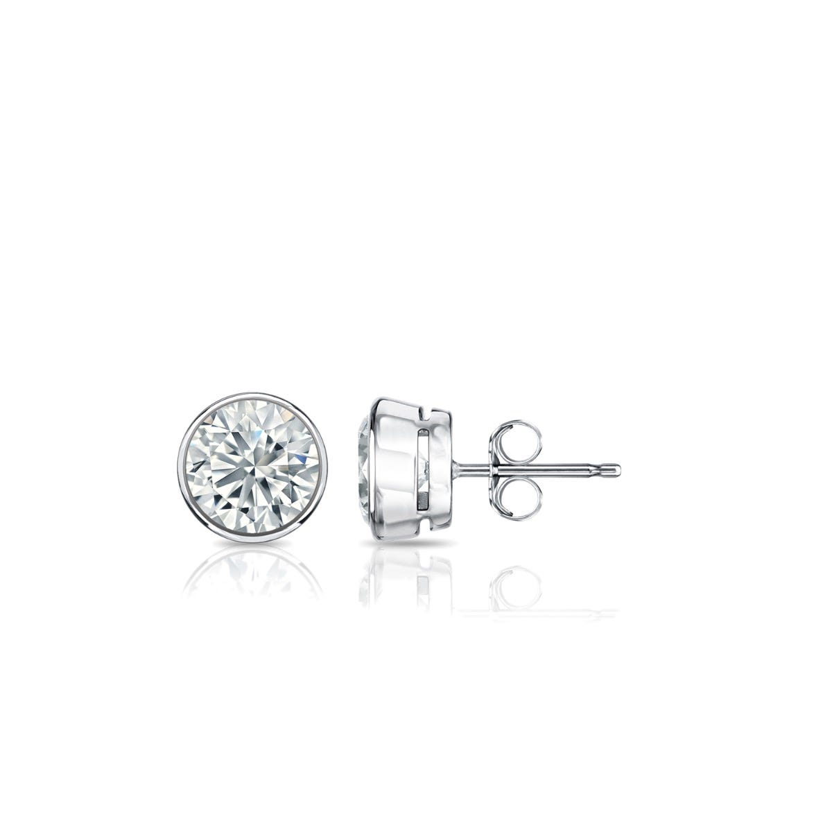 Diamond Round Bezel-Set 3/8ctw. Solitaire Stud (IJ-SI1) Earrings in 14K White Gold