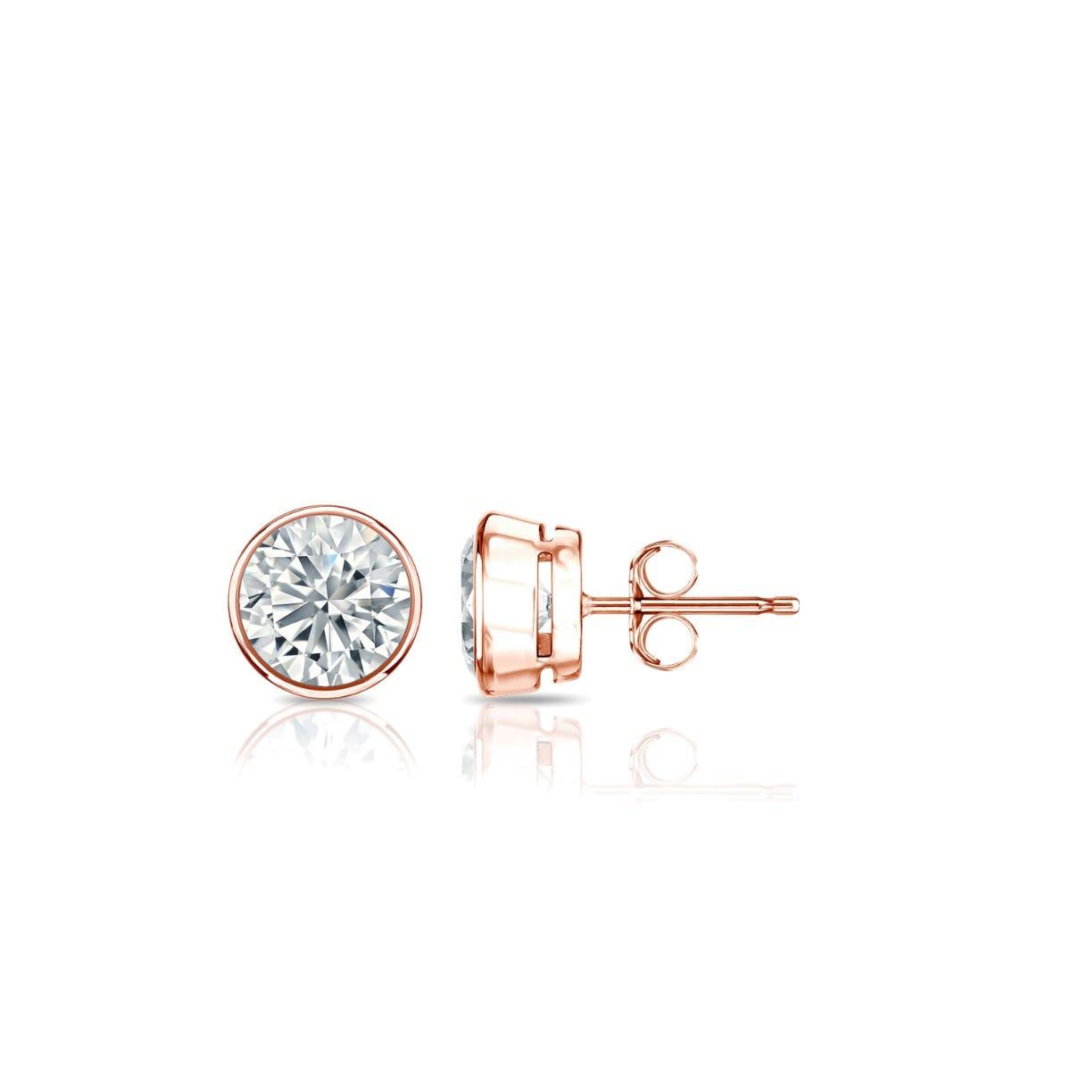 Diamond Round Bezel-Set 3/8ctw. Solitaire Stud (IJ-SI1) Earrings in 14K Rose Gold