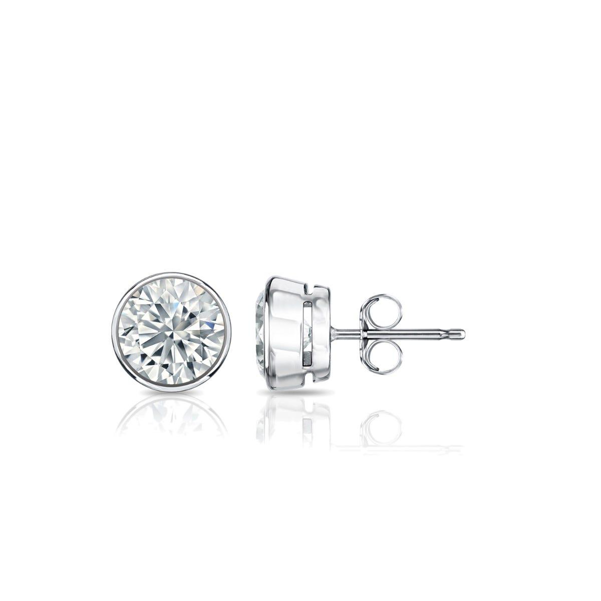 Diamond Round Bezel-Set 5/8ctw. Solitaire Stud (IJ-I2) Earrings in 14K White Gold