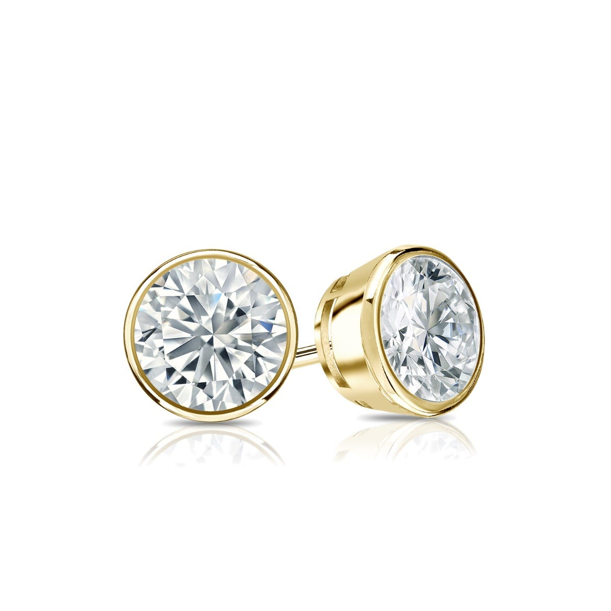 Diamond Round Bezel-Set 5/8ctw. Solitaire Stud (IJ-I2) Earrings in 10K Yellow Gold