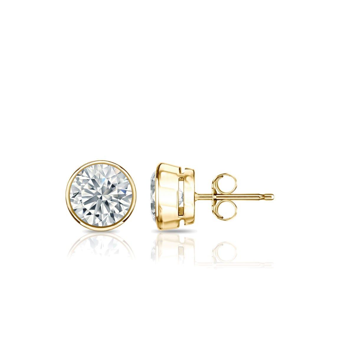 Diamond Round Bezel-Set 5/8ctw. Solitaire Stud (IJ-I1) Earrings in 14K Yellow Gold