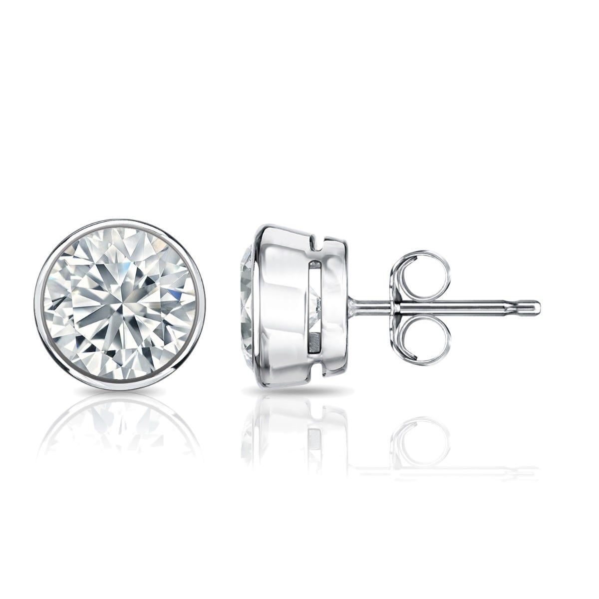 Diamond Round Bezel-Set 1-1/2ctw. Solitaire Stud (IJ-I2) Earrings in Platinum