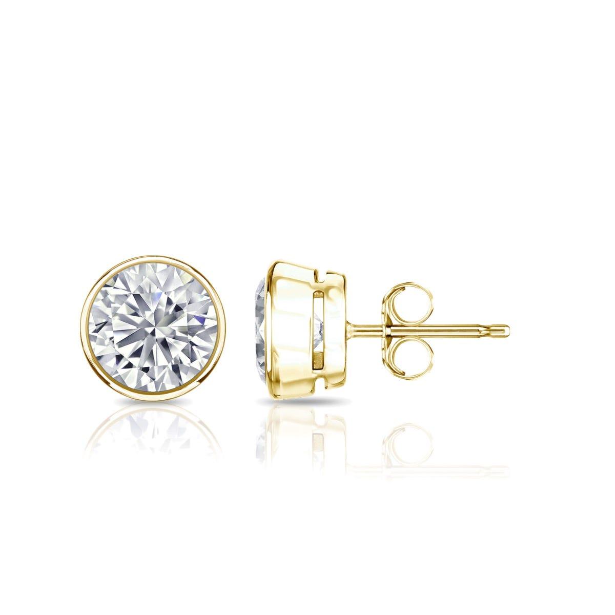Diamond Round Bezel-Set 1ctw. Solitaire Stud (IJ-VS2) Earrings in 14K Yellow Gold