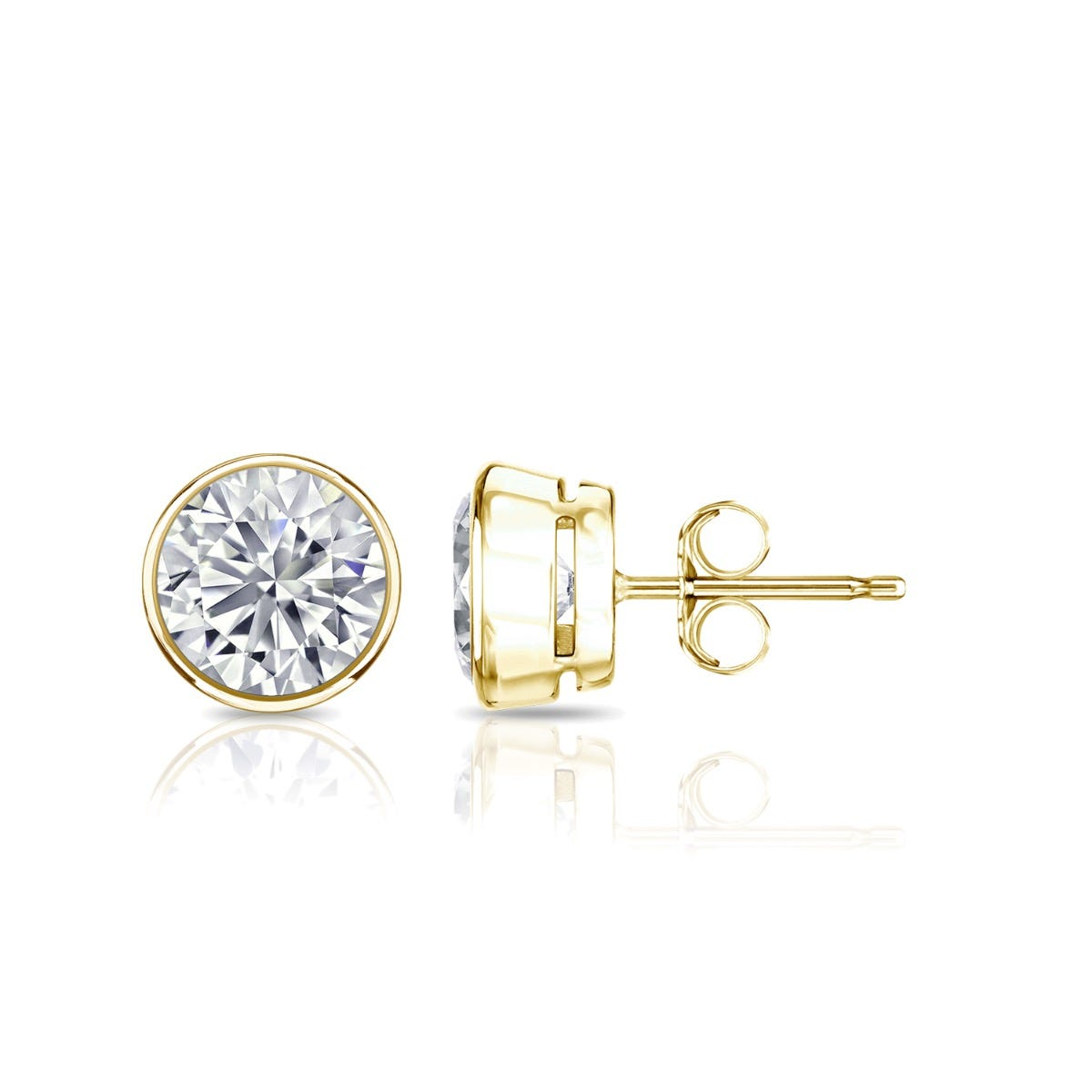 Diamond Round Bezel-Set 1ctw. Solitaire Stud (IJ-SI2) Earrings in 14K Yellow Gold