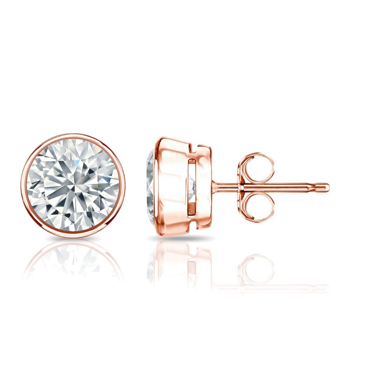 Diamond Round Bezel-Set 1-1/2ctw. Solitaire Stud (IJ-VS2) Earrings in 14K Rose Gold