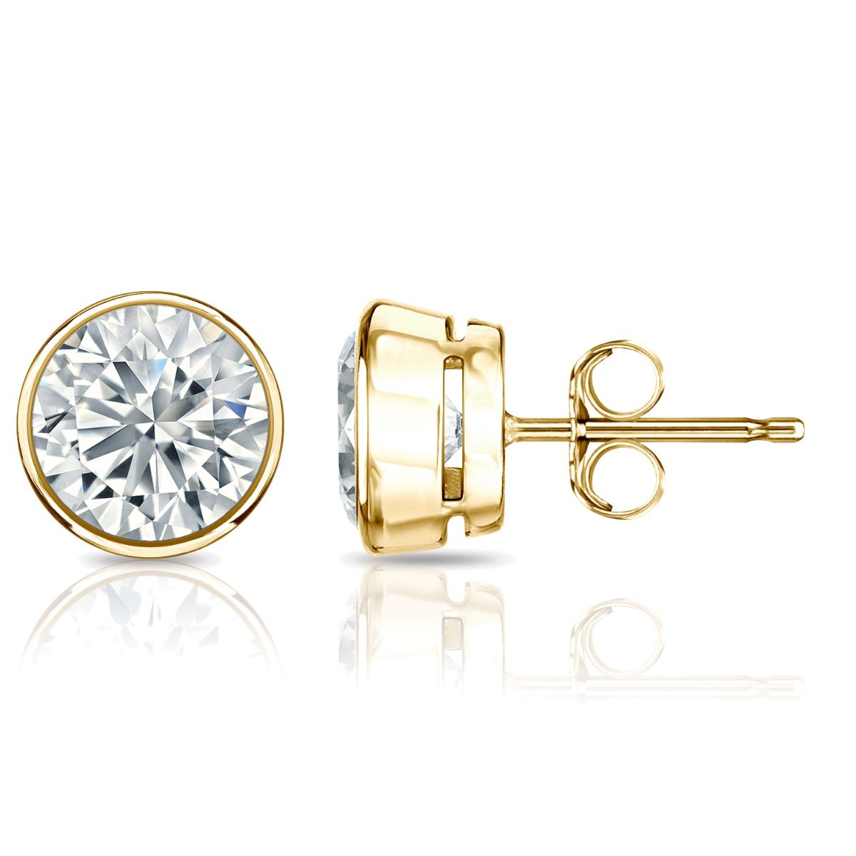 Diamond Round Bezel-Set 2ctw. Solitaire Stud (IJ-SI1) Earrings in 18K Yellow Gold