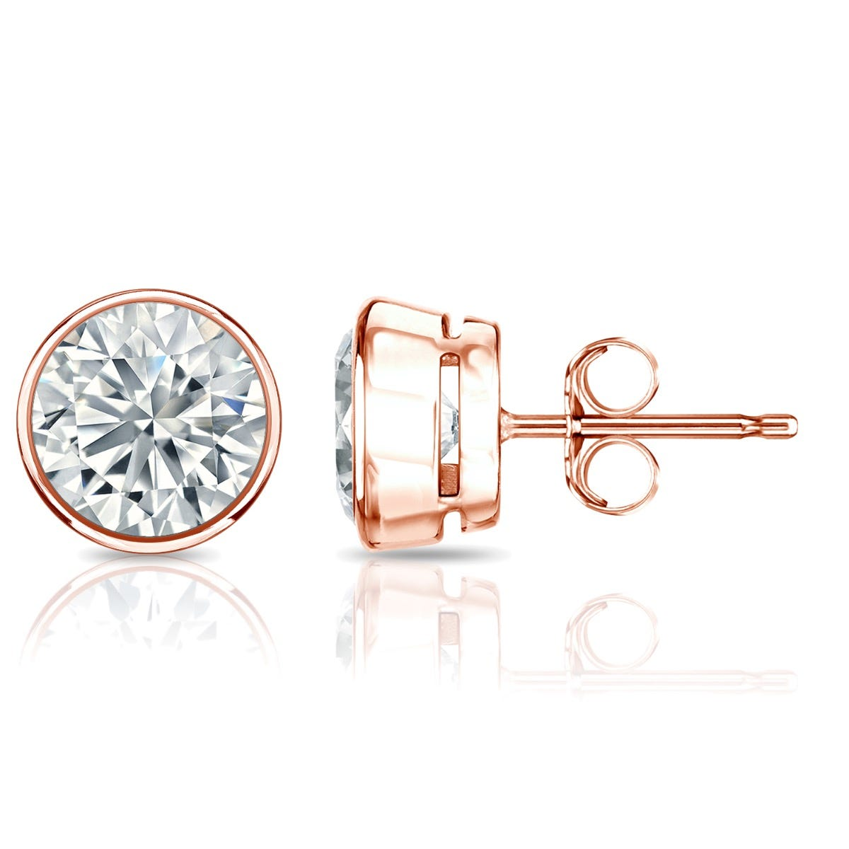 Diamond Round Bezel-Set 2ctw. Solitaire Stud (IJ-I1) Earrings in 14K Rose Gold