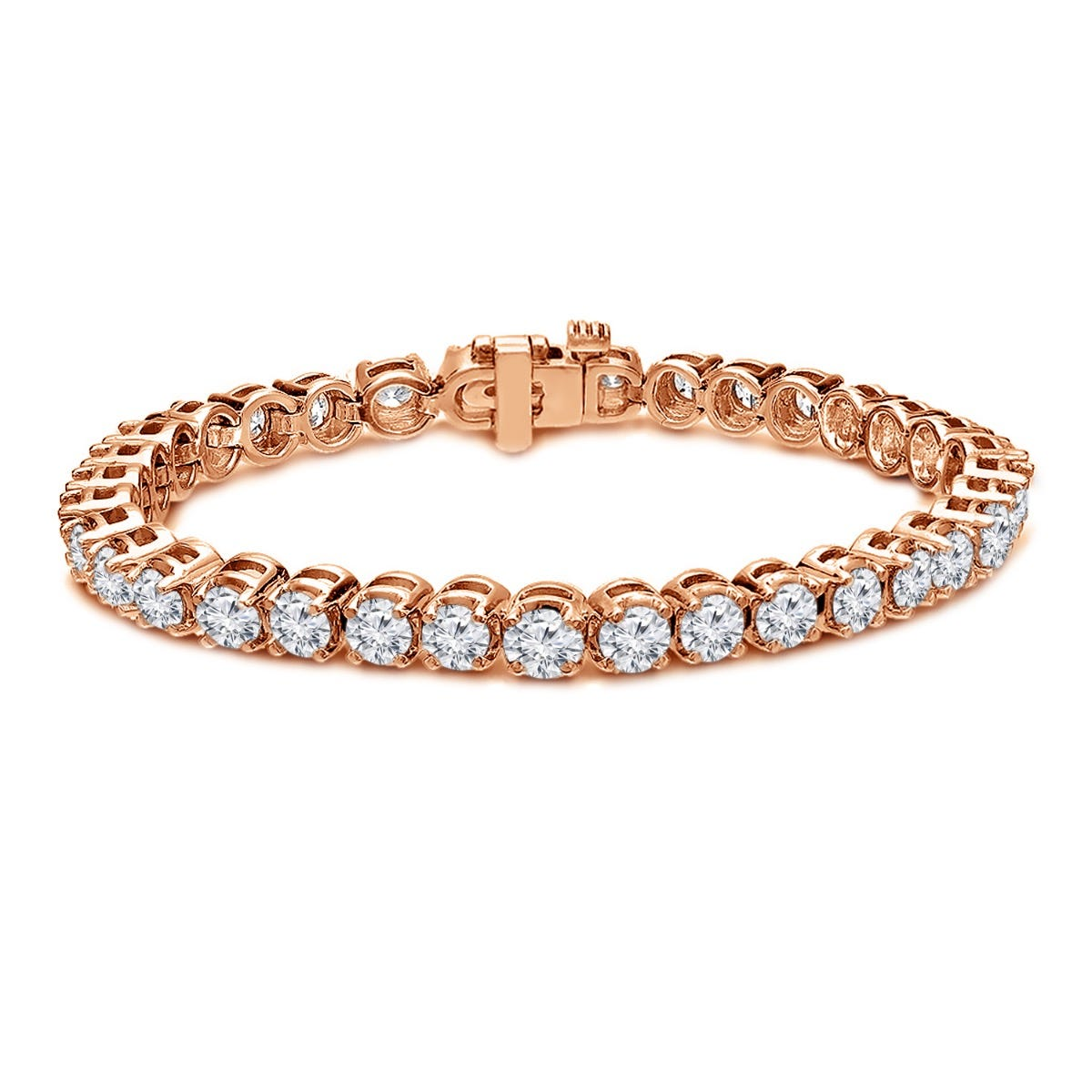 11ctw. 4-Prong Round Link Diamond Tennis Bracelet in 14K Rose Gold (IJ, I1-I2)