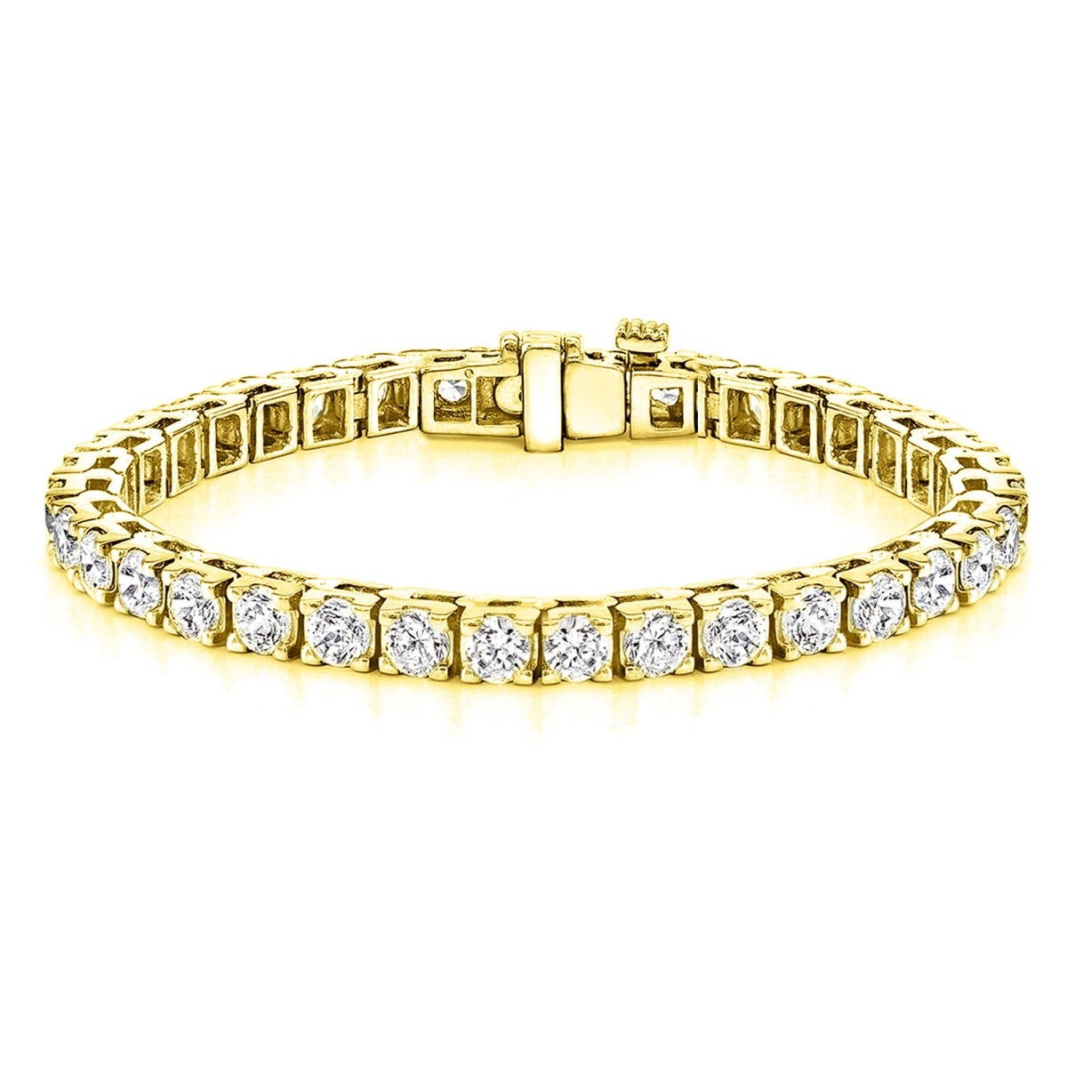 14ctw 4 Prong Square Link Diamond Tennis Bracelet In 14k Yellow Gold Hi Vs1 Vs2