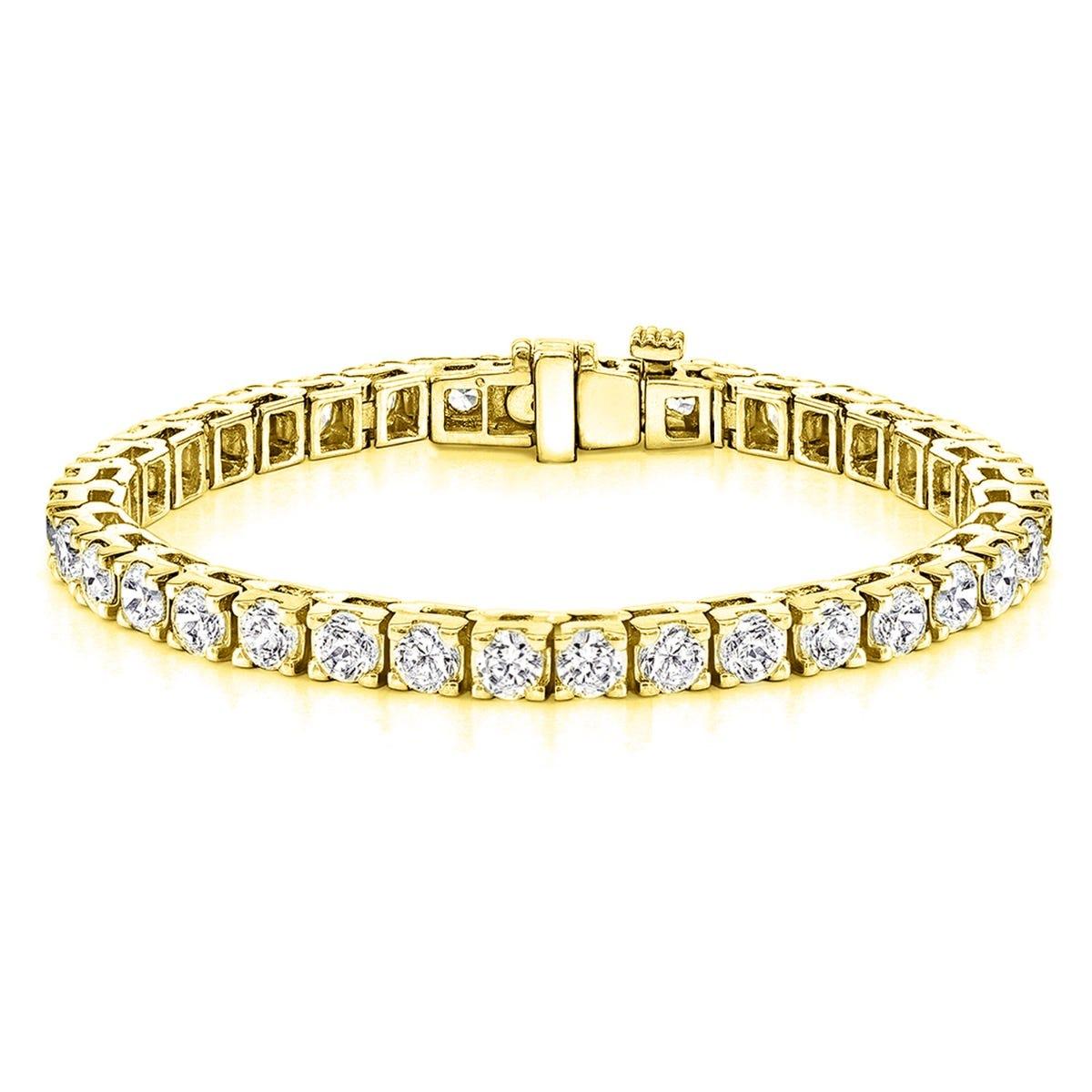 14ctw 4 G Square Link Diamond Tennis Bracelet In 14k Yellow Gold Hi Vs1 Vs2
