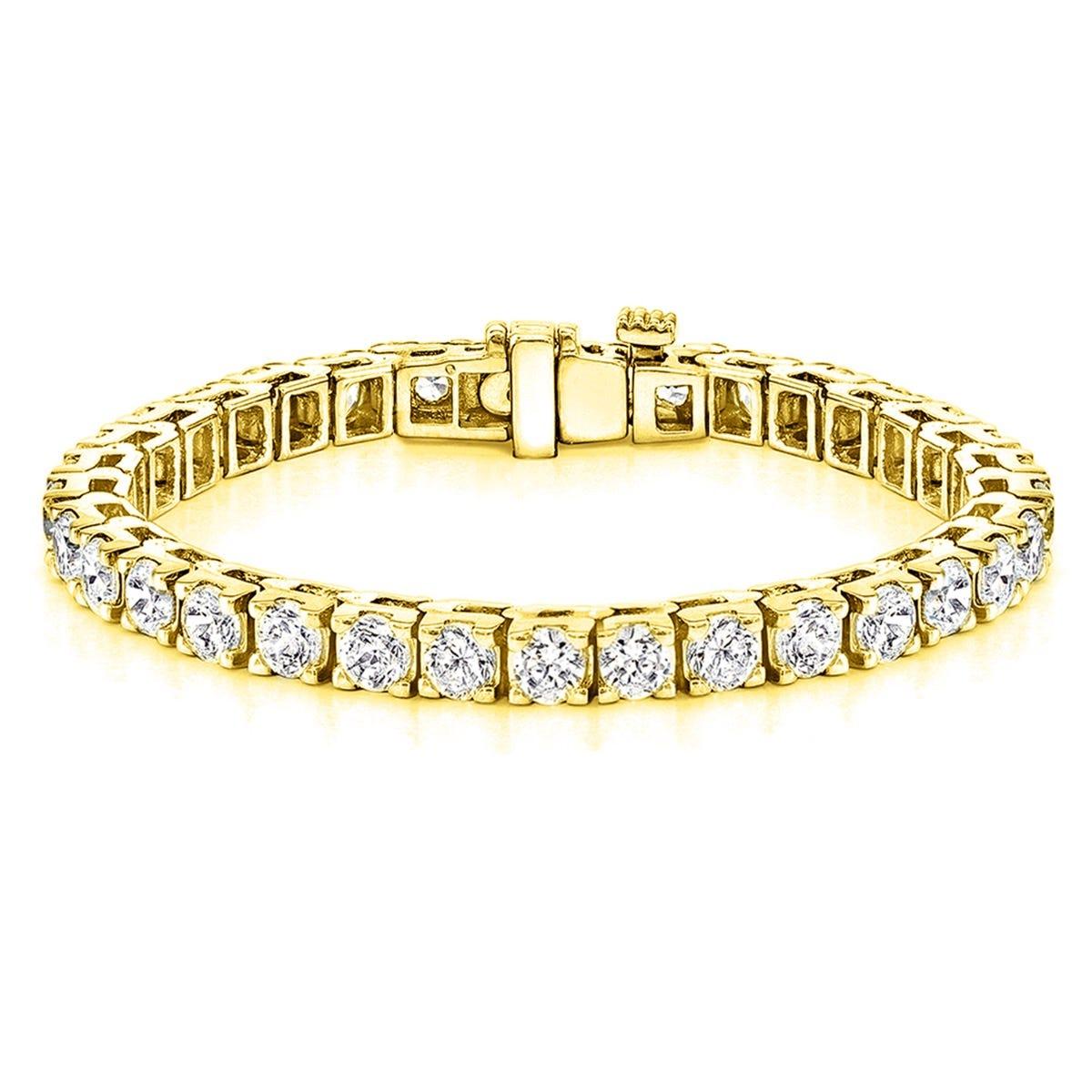 16.50ctw. 4-Prong Square Link Diamond Tennis Bracelet in 14K Yellow Gold (HI, VS1-VS2)