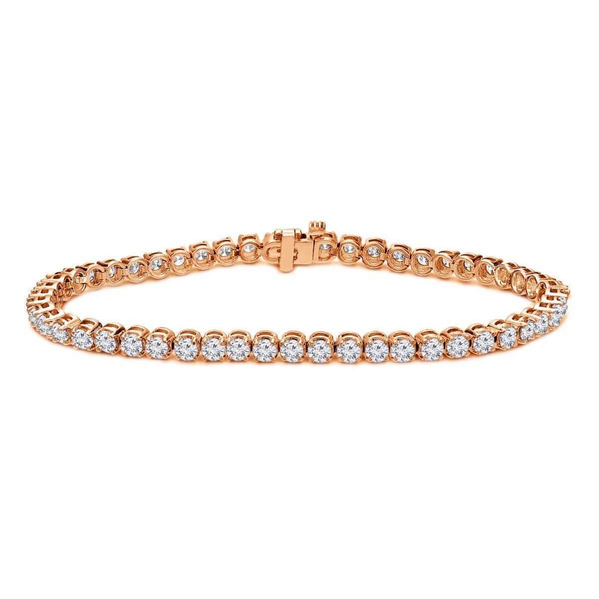 2.50ctw. 4-Prong Round Link Diamond Tennis Bracelet in 14K Rose Gold (HI, SI1-SI2)