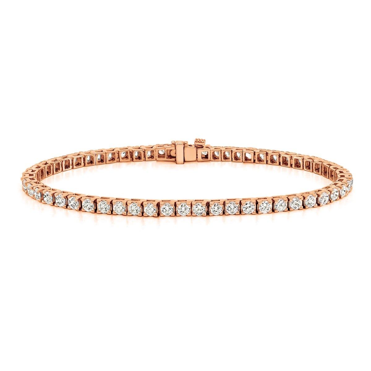 2.50ctw. 4-Prong Square Link Diamond Tennis Bracelet in 14K Rose Gold (HI, VS1-VS2)